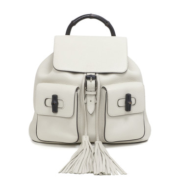 Gucci White Pebbled Leather Bamboo Backpack