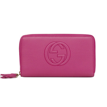 Gucci Pink Soho Leather Zip Around Wallet
