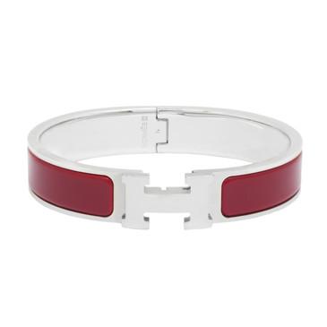 Hermes Red Enamel Narrow Clic Clac Bracelet