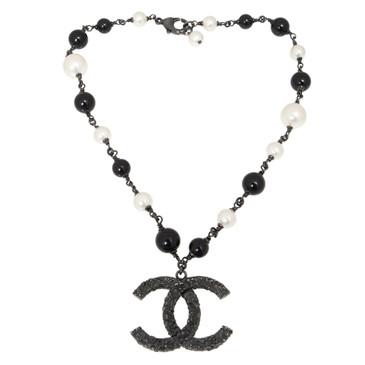 Chanel Pearl Beaded CC Pendant Necklace