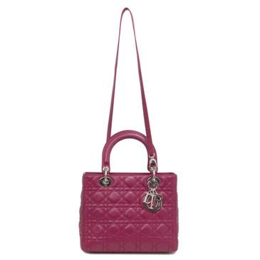 Christian Dior Fuschia Cannage Lambskin Medium Lady Dior