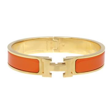 Hermes Orange Enamel Narrow Clic Clac Bracelet