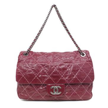 Chanel Red Aged Calfskin Soft Shoulder Flap