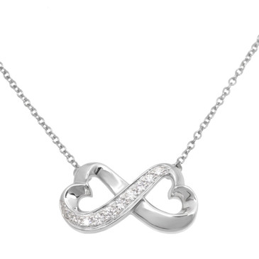 Tiffany & Co. 18K White Gold & Diamond Double Loving Heart Pendant