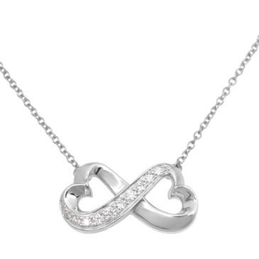 Tiffany & Co. 18K White Gold & Diamond Double Loving Heart Pendant