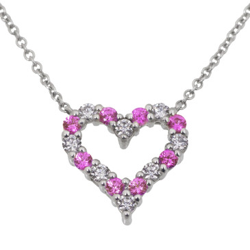 Tiffany & Co. Platinum, Diamond & Pink Sapphire Hearts Pendant