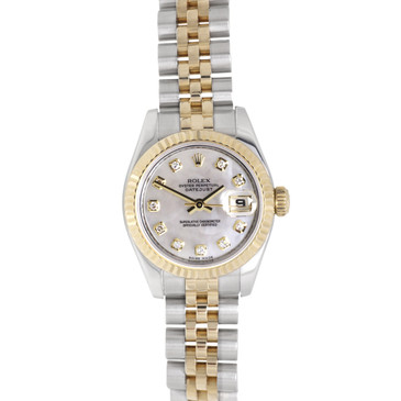 Rolex 18K & Stainless Steel Diamond Dial Ladies Datejust 179173