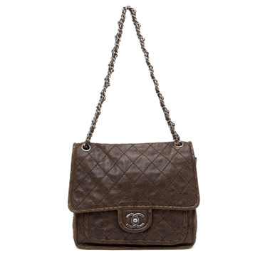 Chanel Brown Quilted Aged Calfskin Vintage Flap Bag