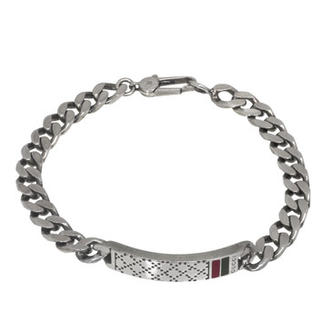 Gucci Sterling Silver Diamante Motif ID Bracelet