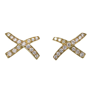 Tiffany & Co. 18K Yellow Gold & Diamond Paloma Picasso X Kiss Earrings