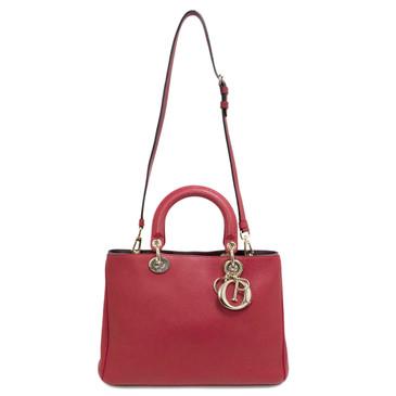 Christian Dior True Red Bullcalf Leather Medium Diorissimo Bag