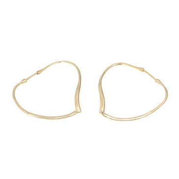 Tiffany & Co. 18K Yellow Gold Open Heart Hoop Earrings