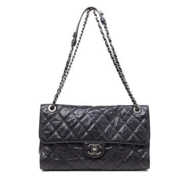 Chanel Black Distressed Caviar CC Crave Flap