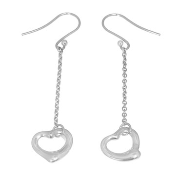 Tiffany & Co. Sterling Silver Open Heart Drop Earrings
