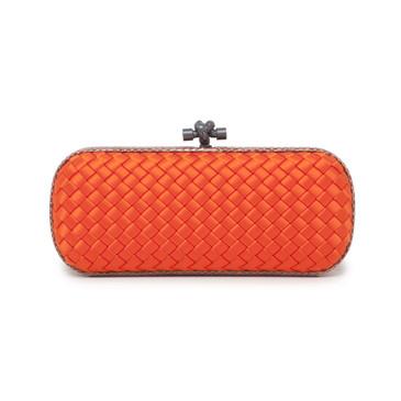 Bottega Veneta Orange Intreccio Impero Satin Stretch Knot Clutch