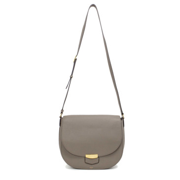 Celine Taupe Grained Calfskin Medium Trotteur Bag