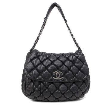 Chanel Black Lambskin Bubble Quilt Flap Bag