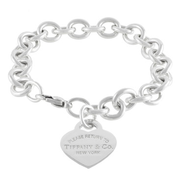 Tiffany & Co. Sterling Silver Return to Tiffany Heart  Tag Charm Bracelet