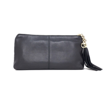 Gucci Black Grained Leather Sienna Clutch