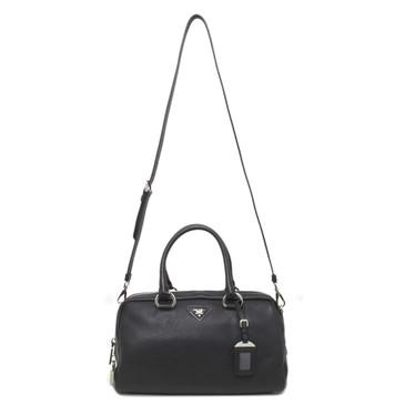 Prada Nero Vitello Daino Convertible Top Handle Bag