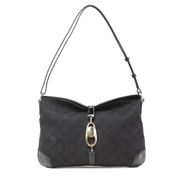 Gucci Black Monogram Canvas Buckle Shoulder Bag