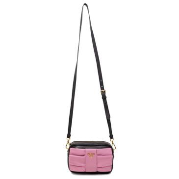 Prada Black & Pink Nappa Fiocco Bow Crossbody