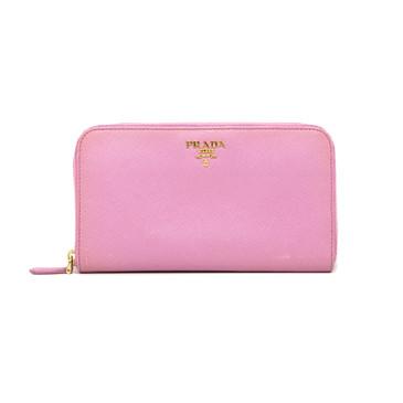 Prada Fuxia Saffiano Zip Around Wallet