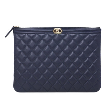 Chanel Blue Quilted Lambskin Boy O Case