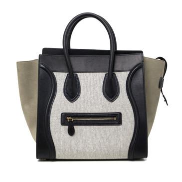 Celine Leather & Textile Mini Luggage Tote