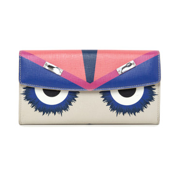 Fendi Saffiano Monster Continental Wallet