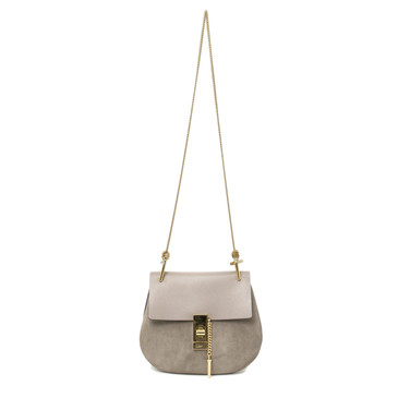 Chloe Motty Grey Suede & Smooth Calfskin Small Drew Crossbody