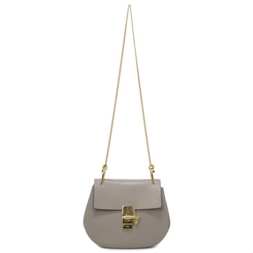Chloe Motty Grey Grained Lambskin Small Drew Crossbody