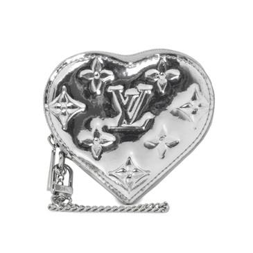 Louis Vuitton Silver Mirror Heart Coin Purse