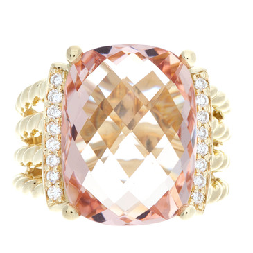 David Yurman 18K Yellow Gold, Morganite & Diamond Wheaton Ring
