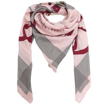Hermes Cashmere & Silk 'Tout en Carre' Shawl Scarf 140