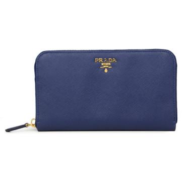 Prada Blue Saffiano Zip Around Wallet