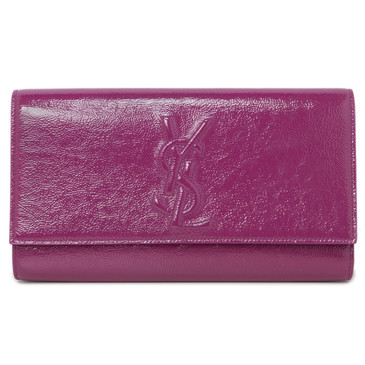 YSL Saint Laurent Fuchsia Patent Large Belle de Jour  Clutch
