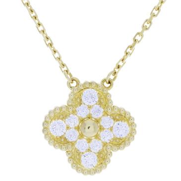 Van Cleef & Arpels 18K Yellow Gold & Diamond Vintage Alhambra Pendant