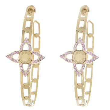 Louis Vuitton Pink Crystal Flower Power Hoop Earrings