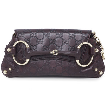 Gucci Brown Guccissima Horsebit Chain Clutch