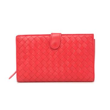 Bottega Veneta Red Nappa Intrecciato Continental Fold Wallet