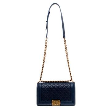 Chanel Dark Navy Blue Quilted Caviar Medium Boy Bag