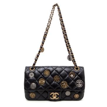 Chanel Black Quilted Aged Calfskin Paris - Dubai Medium Medallion Flap Bag