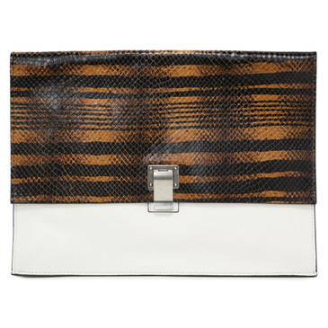 Proenza Schouler White & Embossed Leather Large Lunch Clutch
