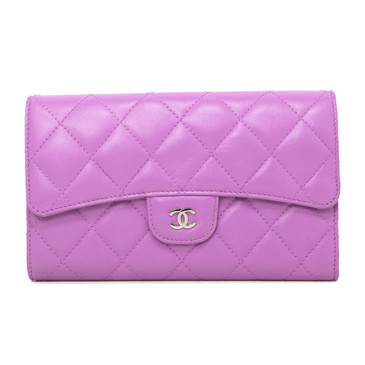 Chanel Pink Quilted Lambskin Large Classic Flap Wallet