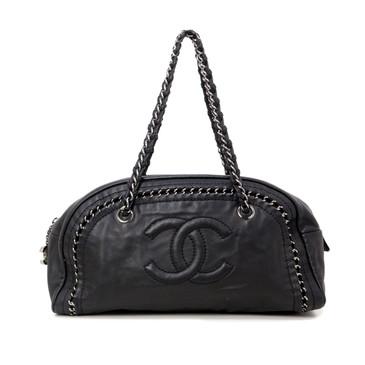 Chanel Black Lambskin Medium Luxe Ligne Bowler Bag