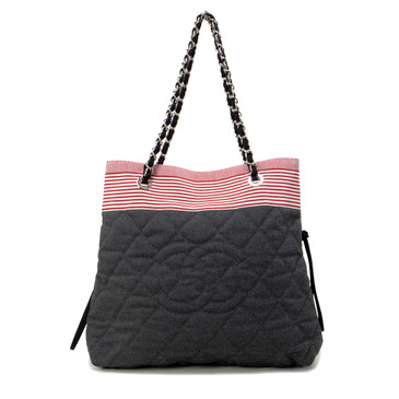 Chanel Grey Quilted Grosgrain Denim Drawstring Tote