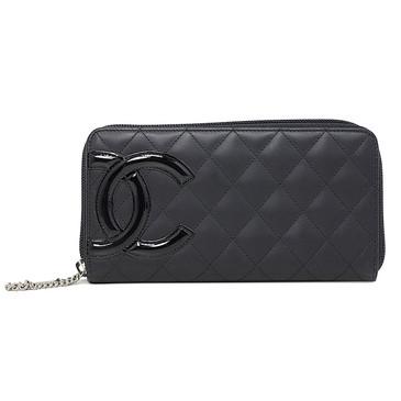 Chanel Black Quilted Calfskin Cambon CC Zip Wallet