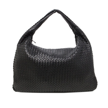 Bottega Veneta Black Intrecciato Nappa Leather Maxi Veneta  Hobo