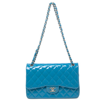 Chanel Teal Quilted Patent Leather Jumbo Classic Double Flap